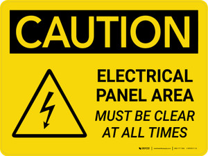 Caution: Electrical Panel Area Must be Clear at All Times Landscape With Icons - Wall Sign