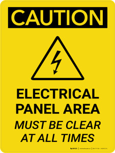 Caution: Electrical Panel Area Must be Clear at All Times Portrait With Icon - Wall Sign