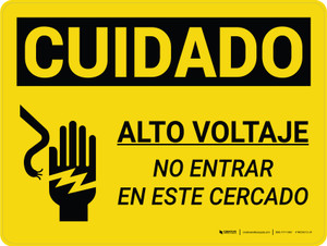 Caution: High Voltage Do Not Enter Enclosure Spanish Landscape With Icon - Wall Sign