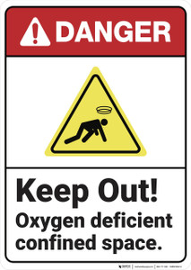 Danger: Keep Out Oxygen Deficient - Wall Sign