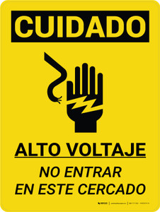 Caution: High Voltage Do Not Enter Enclosure Spanish Portrait With Grahic - Wall Sign