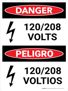 Danger: 120-208 Volts Bilingual Spanish Portrait with Icon - Wall Sign