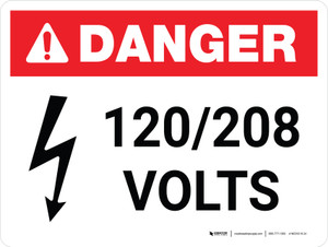Danger: 120-208 Volts Landscape with Icon - Wall Sign