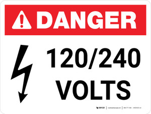 Danger: 120-240 Volts Landscape with Icon - Wall Sign