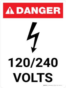 Danger: 120-240 Volts Portrait with Icon - Wall Sign