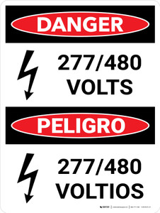 Danger: 277-480 Volts Bilingual Spanish Portrait with Icon - Wall Sign
