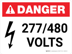 Danger: 277-480 Volts Landscape with Icon - Wall Sign