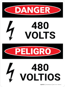 Danger: 480 Volts Bilingual Spanish Portrait with Icon - Wall Sign