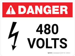 Danger: 480 Volts Landscape with Icon - Wall Sign