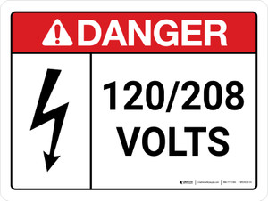 Danger: ANSI 120-208 Volts Landscape with Icon - Wall Sign