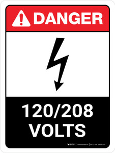 Danger: ANSI 120-208 Volts Portrait with Icon - Wall Sign