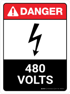 Danger: ANSI 480 Volts Portrait with Icon - Wall Sign