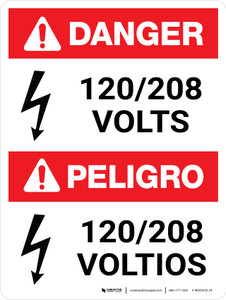 Danger: ANSI 120-208 Volts Portrait Bilingual with Icon - Wall Sign