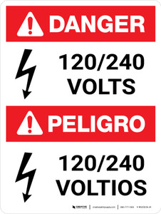 Danger: ANSI 120-240 Volts Portrait Bilingual with Icon - Wall Sign