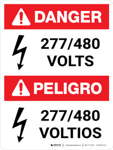 Danger: ANSI 277-480 Volts Portrait Bilingual with Icon - Wall Sign
