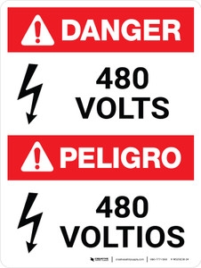 Danger: ANSI 480 Volts Portrait Bilingual with Icon - Wall Sign