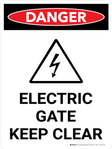 Danger: Electric Gate Keep Clear Portrait with Icon - Wall Sign