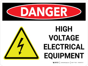 Danger: High Voltage Electrical Equipment Landscape with Icon - Wall Sign