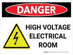 Danger: High Voltage Electrical Room Landscape with Icon - Wall Sign