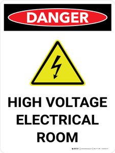Danger: High Voltage Electrical Room Portrait with Icon - Wall Sign