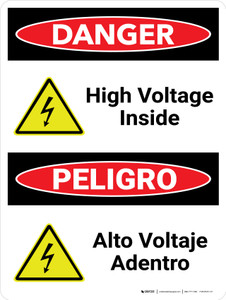 Danger: High Voltage Inside Bilingual Spanish with Icons - Wall Sign