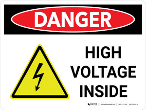 Danger: High Voltage Inside Landscape with Icon - Wall Sign