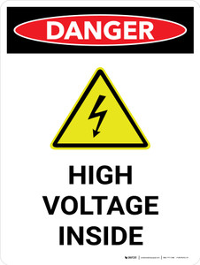 Danger: High Voltage Inside Portrait with Icon - Wall Sign