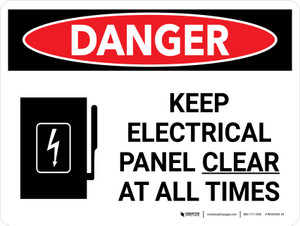 Danger: Keep Electric Panel Area Clear At All Times Landscape with Icon - Wall Sign