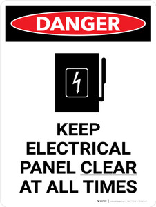Danger: Keep Electric Panel Area Clear At All Times Portrait with Icon - Wall Sign