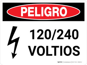 Danger: 120-240 Volts Spanish Landscape with Icon - Wall Sign