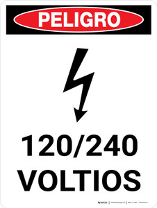 Danger: 120-240 Volts Spanish Portrait with Icon - Wall Sign