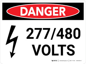 Danger: 277-480 Volts Landscape with Icons - Wall Sign