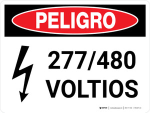 Danger: 277-480 Volts Spanish Landscape with Icon - Wall Sign