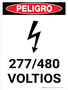 Danger: 277-480 Volts Spanish Portrait with Icon - Wall Sign