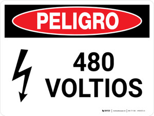 Danger: 480 Volts Spanish Landscape with Icon - Wall Sign