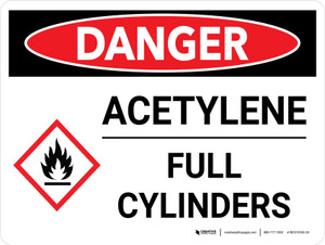 Danger: Acetylene Full Cylinders Landscape with Icon - Wall Sign