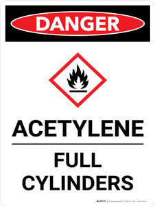 Danger: Acetylene Full Cylinders Portrait with Icon - Wall Sign