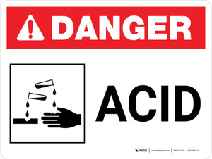 Danger: Acid Landscape with Icon - Wall Sign