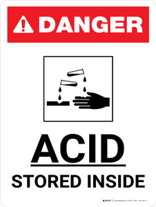 Danger: Acid Stored Inside Portrait with Icon - Wall Sign