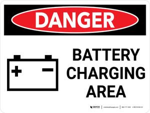 Danger: Battery Charging Area Landscape with Icon - Wall Sign
