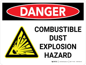 Danger: Combustible Dust Explosion Hazard Landscape with Icon - Wall Sign