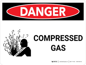 Danger: Compressed Gas Landscape with Icons - Wall Sign