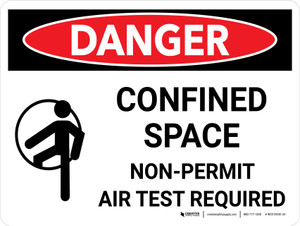 Danger: Confined Space Non Permit Air Test Required Landscape with Icon - Wall Sign