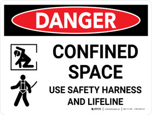 Danger: Confined Space Sign Use Safety Harness Landscape with Icon - Wall Sign
