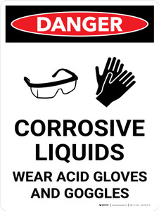 Danger: Corrosive Liquids Wear Gloves and Goggles Portrait with Icon - Wall Sign