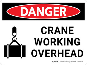 Danger: Crane Working Overhead Landscape with Icon - Wall Sign