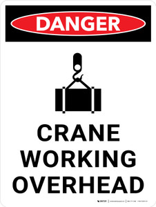 Danger: Crane Working Overhead Portrait with Icon - Wall Sign