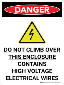 Danger: Do Not Climb Contains High Voltage Portrait with Icon - Wall Sign