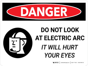 Danger: Do Not Look Electric Arc It Will Hurt Your Eyes Landscape with Icon - Wall Sign