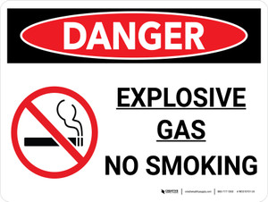 Danger: Explosive Gas No Smoking Landscape with Icon - Wall Sign